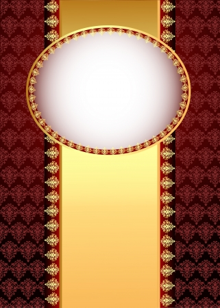 brown swirl: illustration seamless brown background with band and frame with gold(en) pattern