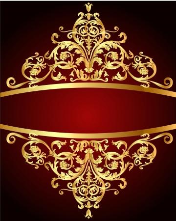 illustration vintage background  red with gold(en) pattern Vector