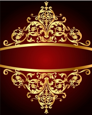 illustration vintage background  red with gold(en) pattern Vector