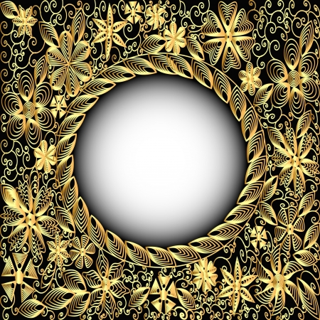 illustration background frame gold(en) with floral pattern Vector