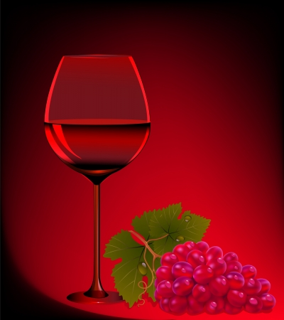 illustration goblet blame and branch of grape Stock Vector - 14342438
