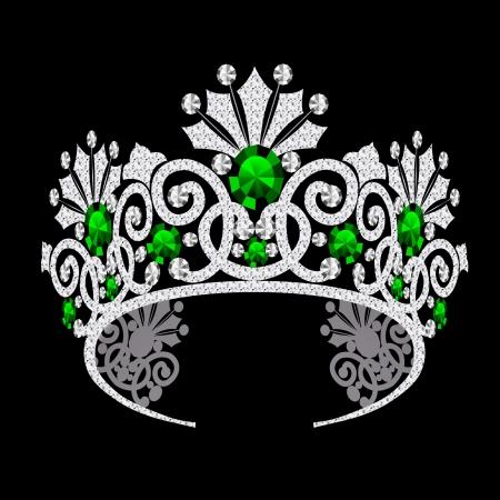 carnival costume: illustration diadem corona feminine wedding with emerald