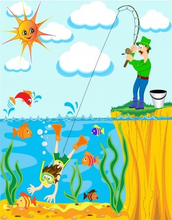 canna pesca: pescatore illustrazione � caughted sulla canna da pesca del subacqueo