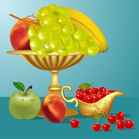 illustration fruits banana,cherry, apple and vase Vector
