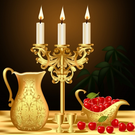 candlestick: illustration still life with gold(en) dishes candle and wine