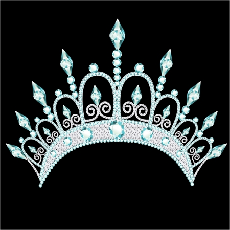 tiara: illustration diadem corona feminine wedding with light stone Illustration