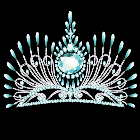 illustration diadem corona feminine wedding with blue stone Vector