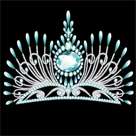 illustration diadem corona feminine wedding with blue stone Vector