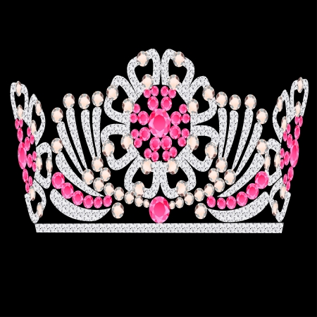 illustration diadem crown feminine wedding with rose stone Vector