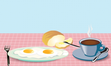 fried: illustration morning meal fried eggs coffee and bread with mask