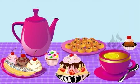 illustration tea with lemon and fruit cake, cake of the bun Illustration