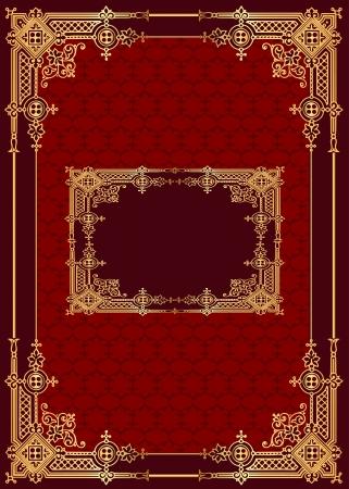 illustratie rode achtergrond met frame met gouden (nl) patroon