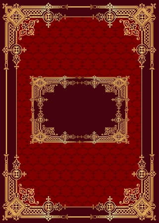 illustration red background with frame with gold(en) pattern Vector