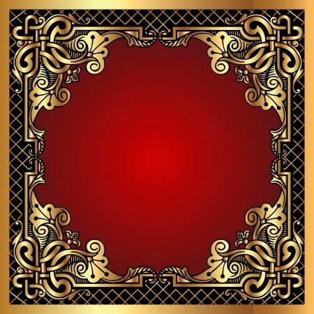 illustratie rode achtergrond frame met gouden (nl) patroon en de netto-