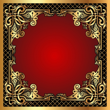 gold frame:  illustration red background frame with gold(en) pattern and net