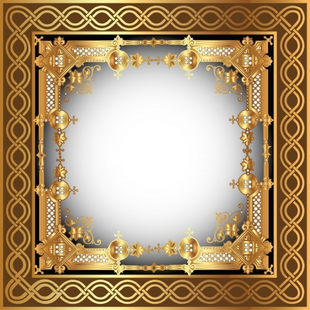 illustration  background with white frame with gold(en) pattern Vector
