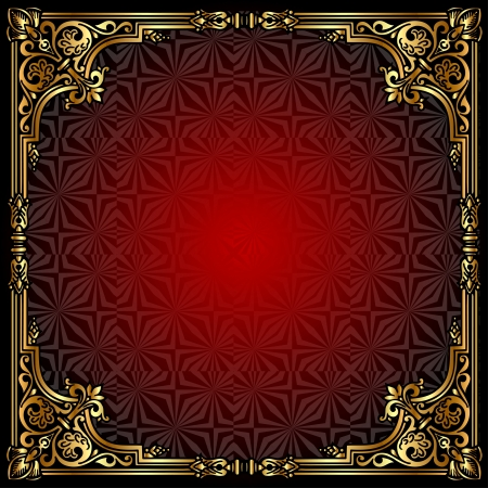 illustration  background with  frame with gold(en) pattern Vector