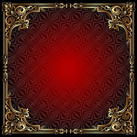 ornate gold frame: ilustraci�n de fondo con marco de oro (en) pattern Vectores