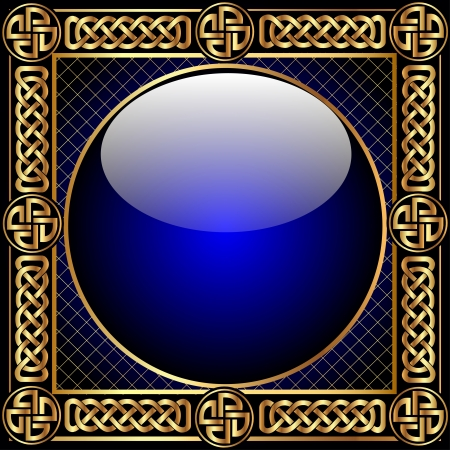 Abstract background with glass ball and gold(en) pattern Vector