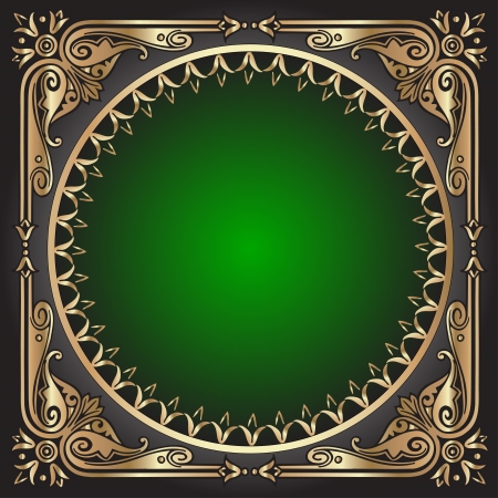 illustration black background with green frame with gold(en) pattern Stock Vector - 14471890