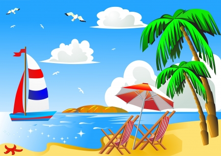 illustration sea beach with palm by sailboat chair and umbrella illustration