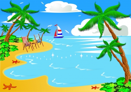 illustration sea beach with palm by sailboat chair illustration