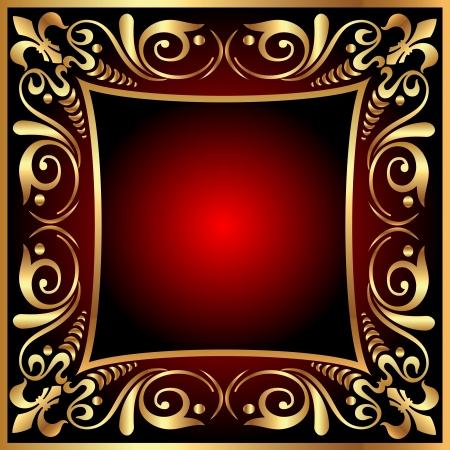 illustration background frame with vegetable gold(en) pattern Stock Vector - 14511888