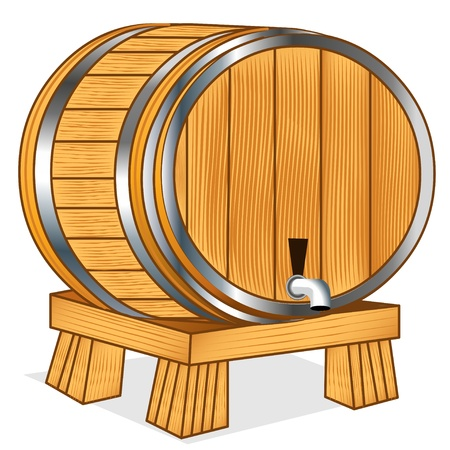 vat: The Barrel with wine or beer on tray on white
