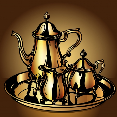 illustration set festive with teapot and dairyman from gold Stock Vector - 14625321