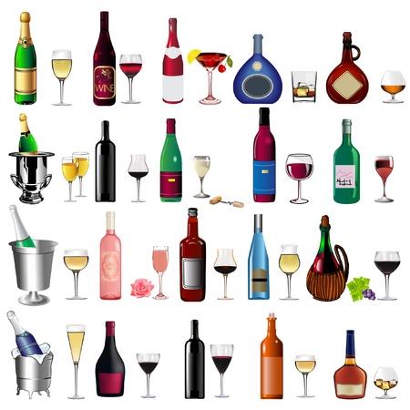 conjunto ilustraci�n botella de vino y copa en blanco