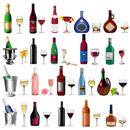 illustration set bottle wine and goblet on white Vector