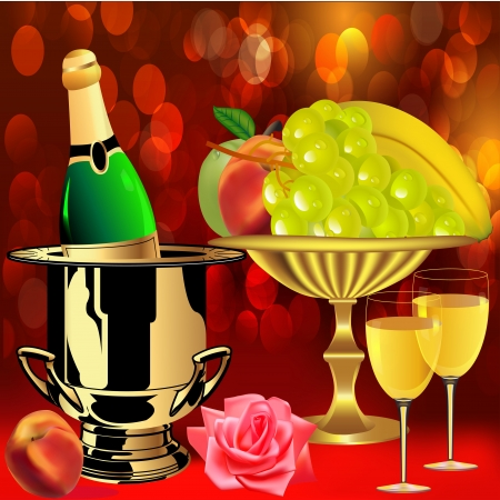 illustration bottle champagne fruit  rose and goblets Vector