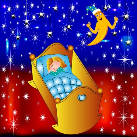 illustration crib child moon lulls and hangs stars Vector
