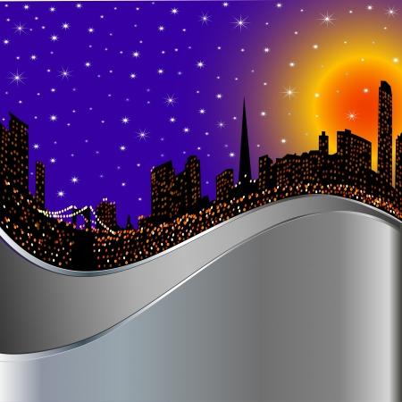 back lighting: illustration background with night city illuminated by lights