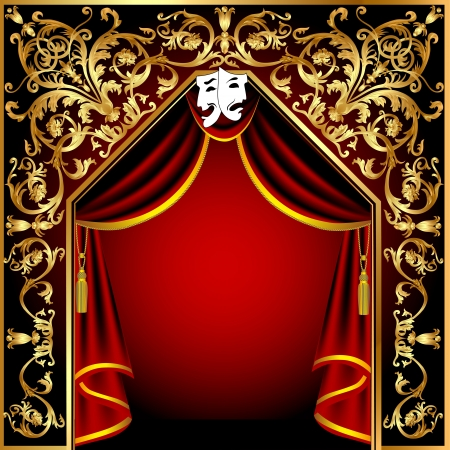 performance art: illustration background with theatrical curtain and gold(en) pattern