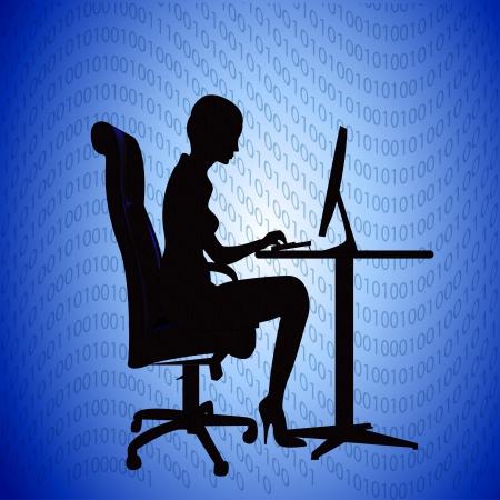 cartoon worker: ilustraci�n silueta impresiones mujer secretaria en la computadora