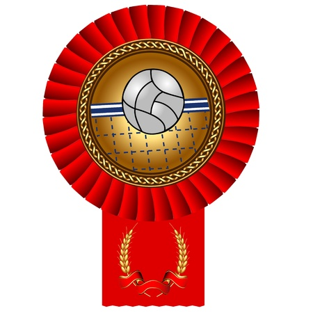 illustration volleyball ball gold medal red tape Vector