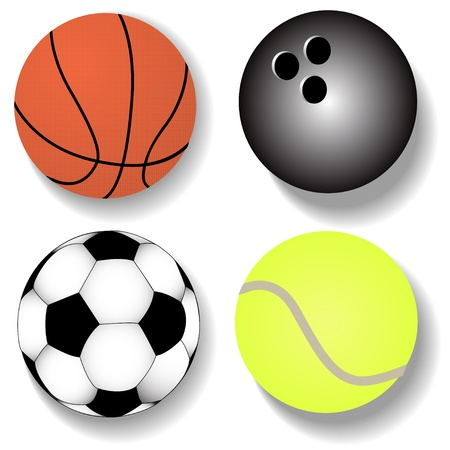 illustration kit atheletic ball basketball football tennis Stock Vector - 14661487