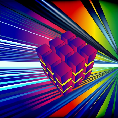 illustration digital background with cube in ray Stock Vector - 14731092