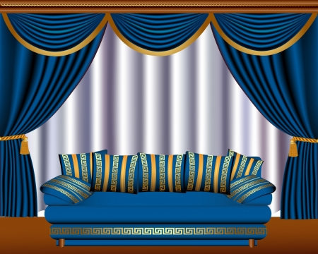 sofa set: illustration window blinds with cyst and sofa