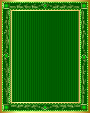 illustration green background frame with vegetable gold(en) pattern Vector