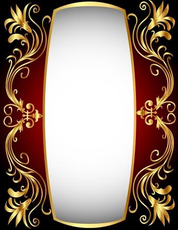 illustration vertical frame with gold(en) winding pattern Illustration