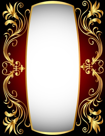 black textured background:  illustration vertical frame with gold(en) winding pattern Illustration