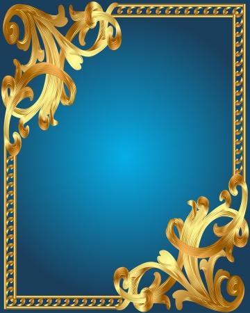 illustration blue background frame with gold(en) vegetable ornament