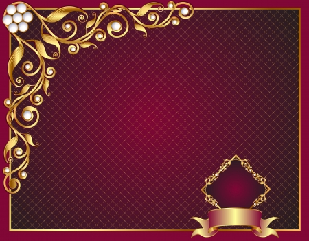 illustration background frame with gold(en) vegetable ornament and pearl Vector