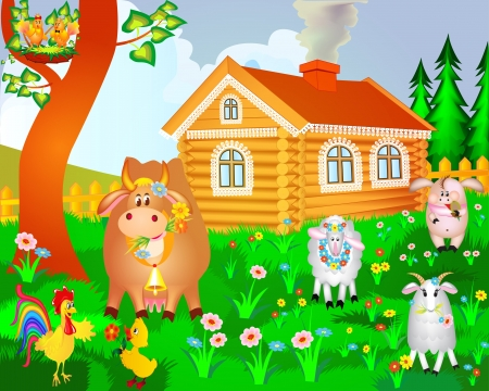 illustration house cow pig birds and sheep