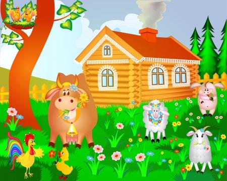 illustratie, huis, koe varken vogels en schapen