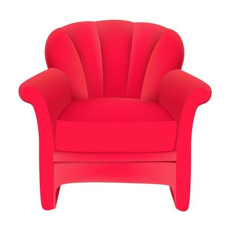 illustration red velvet easy chair on white background Stock Vector - 14837432
