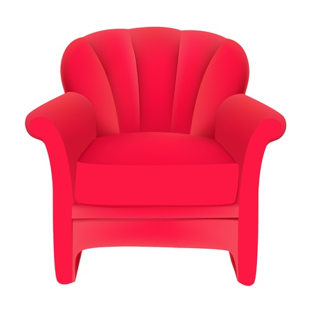 easy chair: illustration red velvet easy chair on white background