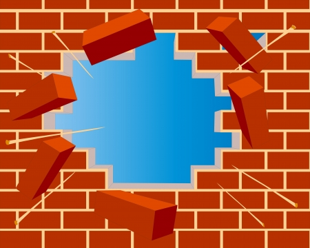 illustration broken brick wall with hole and sky